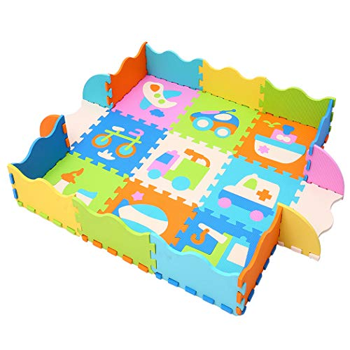 MQIAOHAM 9 Piezas de Espuma EVA Play Mats Floor Puzzle Crawling | Alfombra de Juego para niños pequeños Niños Niños | Enclavamiento | Color Brillante P025B3010