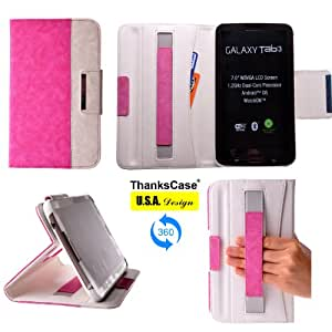 Thankscase Samsung Galaxy Tab 3 7.0 Rotating Case Cover with Hand Strap and Pocket with Smart Cover Function,Lightweight Rotating Smart Cover Wallet Case for Samsung Galaxy Tab 3 7.0 Sm-t210R (Pink+White).
