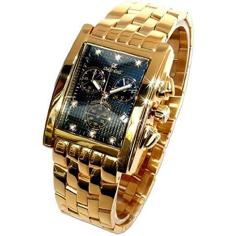 Oskar Emil Rodez - Reloj de Lujo Cronógrafo para Hombre, Oro Con 7 Diamantes, Esfera Negro