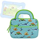 Evecase Orbo Jr. Children's Tablet 7-inch Kids Tablet Sleeve, Cute Dinosaurs Themed Neoprene Travel Carrying Slim Sleeve Case Bag w/ Dual Handle and Accessory Pocket - Blue w/ Green Trim