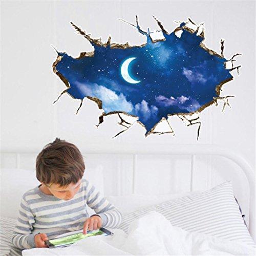 Pvc-decken-fliesen (erthome 3D Sterne Mond Decke Boden Wandaufkleber Removable Decals Kunst Room Decor)