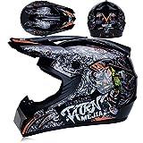 JohnnyLuLu Motocross-Sturzhelm, D.O.T-zertifizierter Offroad-Motorrad-Quad- / MX- / ATV- / Dirtbike-Rennhelm für Erwachsene,A,M -