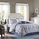 Harbor House Stella Full Size Bed Comforter Set - Blue, Paisley - 5 Pieces Bedding Sets - Cotton Bedroom Comforters