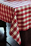 Tischwäsche mit 2 cm Karo aus Baumwolle - Farbe rot-weiß (130x220)