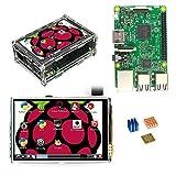 QHJ pi 3 Modell b/3,5-Zoll-LCD-Touchscreen-Anzeige/Acrylgehäuse/ 3PC-Kühlkörper Für Raspberry Pi 3 Model B, Starter-Komplett-Kits mit 3,5-Zoll-Display und Kühlkörper (Als Zeigen)