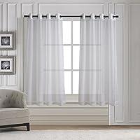 """aquazolax sólido ventana Panel de pura cortina, tela, Blanco, 54""""A x 63""""L (137cm x 160cm), 2 Panels Set"""