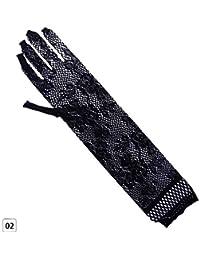 Teabelle Sexy Lace Guantes para Mujer Halloween Fiesta Prom Largo Full-Dedo Elástico Codo Solar Encaje Opera Cosplay Guantes Negro Negro