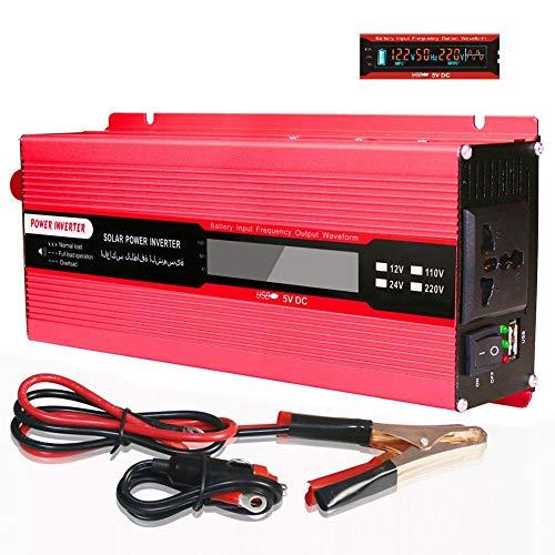 WDYu 500W 1000W 1500W 2000W Wechselrichter Steckdosen mit USB Port 1 Universal Steckdose und LCD-Display Spannungswandler Inverter 24V 110V/220V2000W 110V