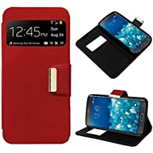 Funda (case - cover) con tapa (libro - ventana) para Huawei Ascend Y300 - Rojo