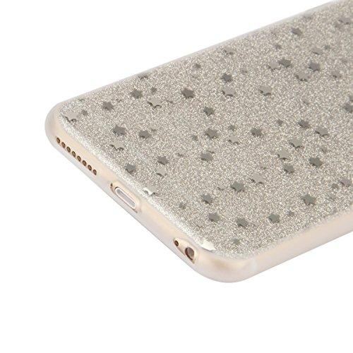 iPhone 6 6S Coque Housse Etui, iPhone 6 Rose Coque en Silcone Clair Ultra-Mince Etui Housse avec Glitter Diamant, iPhone 6S Silicone Coque Pink Slim Transparent Soft TPU Bumper Case with Bling Diamond Argent-Lune et étoiles