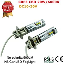 20W CREE LED Niebla Luz H1H3coche luces antiniebla conducción Lámparas canbus libre de errores, (Pack de 2)