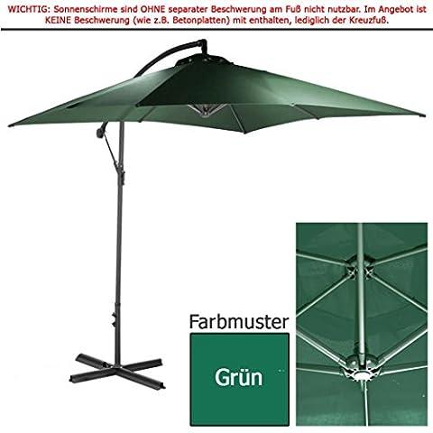habeig® 2,5m Ampelschirm grün eckig Sonnenschirm Kurbelschirm Schirm Gartenschirm ca. 250cm