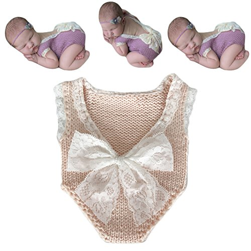 Neugeborenen Babyfotografie Props Kostüm Jungen Mädchen Baby Fotografieren Fotoshooting Set Requisiten Accessoire Weste Bodysuits (Beige)
