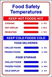 Food Safety Temperatures Sign - Self adhesive vinyl 200mm x 300mm