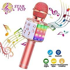 Idea Regalo - ShinePick Microfono Karaoke, 4 in 1 Bluetooth Wireless LED Flash Microfono Portatile Karaoke Player con Altoparlante per Android/iOS, PC e Smartphone(Oro Rosa)