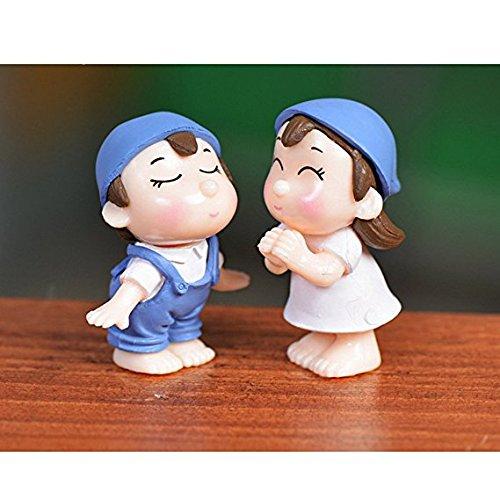 Peino - Figuras de resina para jardín de hadas, diseño de parejas de paisaje (azul)