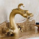 GQLB Einfache Hahn Kupfer retro Wasserhahn mit heißen und kalten Wasserhahn bad Armatur höhe Drache Hahn kurz 1 Griff
