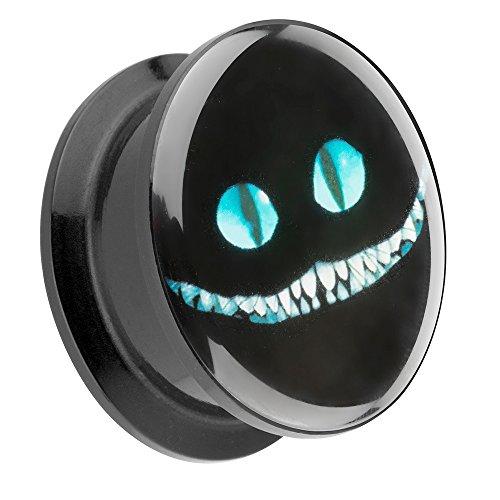Piercingfaktor Ohr Plug Flesh Tunnel Piercing Ohrpiercing Kunststoff Schraub Schraubverschluß mit Picture Motiv Cheshire Cat Grinsekatze 24mm