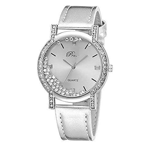 Mode Femme Luxe Montre-bracelet par Lintimes Fluide Strass Cadran rond montres à quartz analogique avec lanière de cuir - Silver