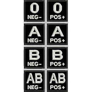 Patch groupe sanguin Airsoft Armée sur noir–var. 1cm 4x 4broderie -423