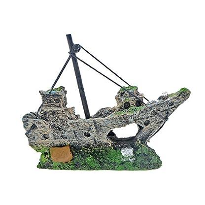 Saim Aquarium Decor Pirate Ship Fishing Boat Shipwreck Hiding Cave Aquarium Sailing Boat Landscape Decoration Ornament… 3