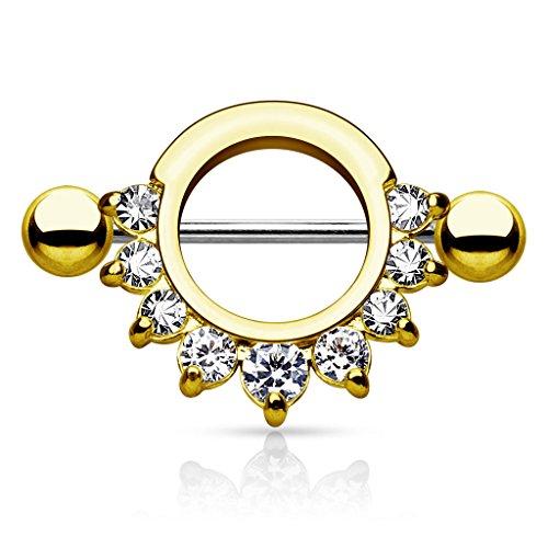 Piercingfaktor Brustpiercing Schild mit Kristalle - Gold