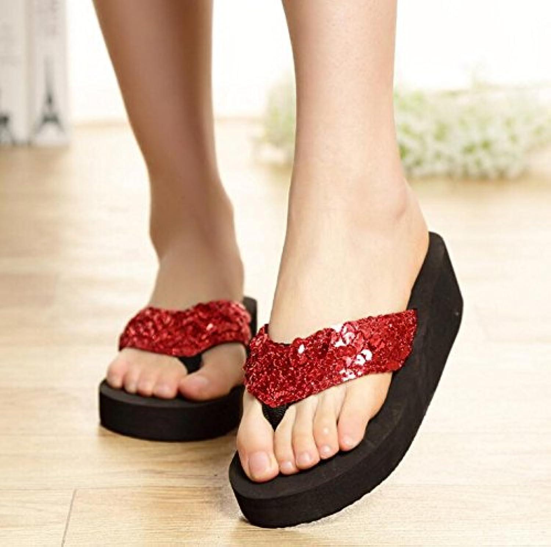 PDHU Pailletten den Strand Anti-Rutsch-Hausschuhe Sandalen für Damen (rot)
