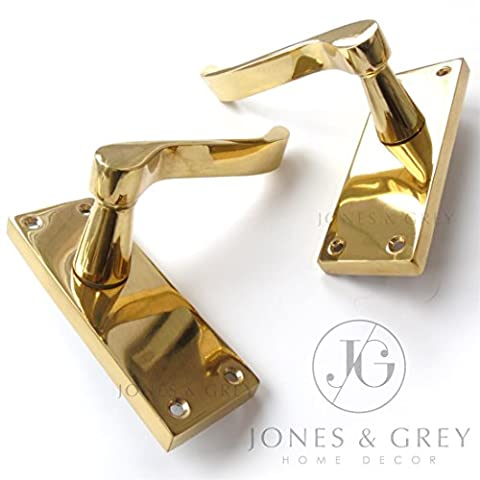 PAIR OF POLISHED BRASS VICTORIAN SCROLL LEVER LATCH DOOR HANDLES