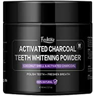 Teeth Whitening,Foshine Activated Charcoal Natural Teeth Whitening Powder-100% Natural Fluoride Free-Massive 80g Capacity for The Whole Family