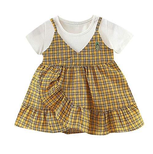 leidung, Sommer Mode Elegant Kleinkinder SäUglings Baby Kinder Plaid Kurzarm Princess Rock Outfits Clothing BeiläUfiges Kleider Strand Festlich Partykleid(5,Gelb) ()