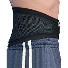 Faja Lumbar (M/NEGRO) - Cinturón de Protección Lumbar ANTI-SUDOR, HIPOALERGÉNICA (SIN NEOPRENO – SIN LATEX), respeta las píelas más delicadas. 4DflexiSPORT