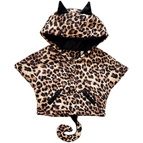 Tkria Bimbo E Bambine Ragazze leopardo Giacca pipistrello Cappuccio Caldo Mantello Cappotti