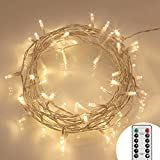 8 Modes 40 LED Fairy Lights Battery Operated [Remote & Timer] Outdoor LED String Lights IP65, Warm White