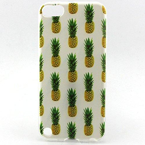 iPod Touch 5Gen Fall, EasyTop Premium Passgenau Fashion Stil Flexibel Ultra Slim Soft TPU Gummi Rückseite Cover schützende Haut Fall, Ananas