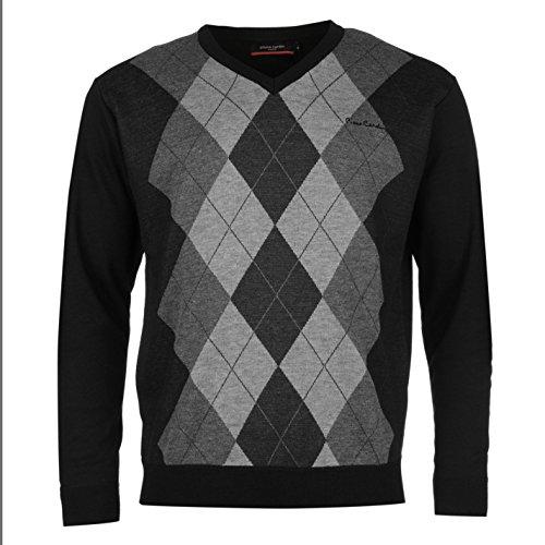 pierre-cardin-hombre-argyle-de-punto-modelo-jersey-manga-larga-v-cuello-top-black-charcoal-large