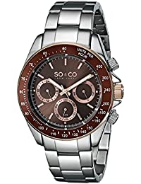 So & Co New York Monticello Men's Quartz Watch with Brown Dial Analogue Display and Silver Stainless Steel Bracelet 5010B.4