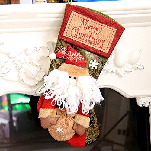 Christmas Utenciles Weihnachtsartikel Große Retro Socken Weihnachten Schneemann Socken Geschenk Tasche Geschenk Candy Bag Dekoration,A