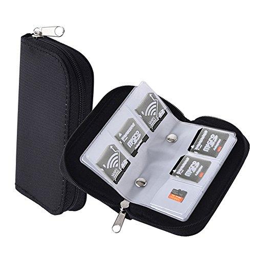 Preisvergleich Produktbild Chytaii Speicherkarten Aufbewahrungstasche Organizer Karte Tasche mit Reißverschluss 22 Schlitze für SD SDHC CF Micro SD Karten schwarz