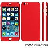 Innovatec INNCOQ360PEIP6PR Coque avec Film de protection d'écran en Verre Trempe pour iPhone 6+/6S+ Rouge