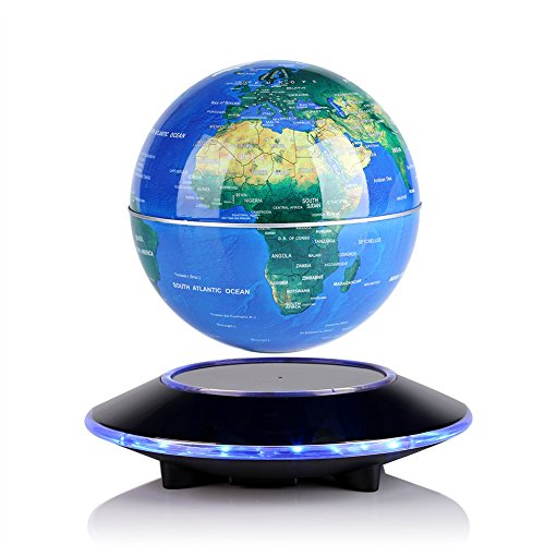 Weltkugel Magnetschwebebahn Globus LED Welt Karte Schwimm 360 Grad für Bildungsgeschenk Home Office Klassenzimmer Schreibtisch Dekoration (6 inich)(EU) (Weltkarte Im Klassenzimmer)