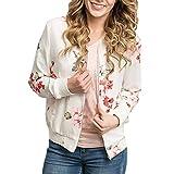 Longra Mode Damen Jacken Blumendruck Bomberjacke Bikerjacke Reißverschluss Fliegerjacke Damen Übergangsjacke Windbreaker Kapuzenjacke Frauen Sweatshirt Pullover Baseball Mantel Outwear (s, Weiß)