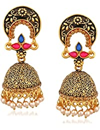 Trushi GRACEFUL GOLD PLATED EARRING WITH MULTICOLOR STONES FOR WOMENS