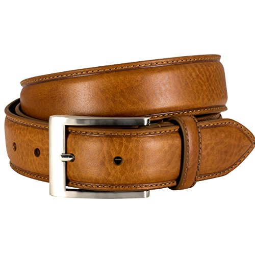 Lindenmann Mens Leather Belt/Mens Belt, full grain leather belt XXL curved, cognac, Größe/Size:110
