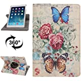 Wkae caso, rotación de 360  grados patrón de mariposa amor flor funda de piel con 3Engranajes Soporte para iPad Air (SKU: s-ip5d-0101C)
