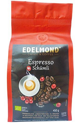 Edelmond® Bio ESPRESSO Kaffee Mild ✓ Langzeitröstung 35 Minuten ✓ Säurearm ✓ Angenehmer Koffeeingehalt, beste Trommelröstung ✓ Von der Fairtrade Kooperative Comsa - 450 gr.