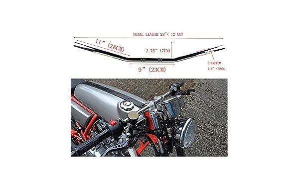 FIYPIG Chrome 7//8 Drag Style Bar Motorcycle Handlebars for Custom Chopper Brat Rat Cafe
