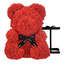 Artificial Flower Rose Bear Anniversary Valentine's Day Gift ,Gifts for Girls,Unique Gifts,Birthday Gifts,Christmas gift,16 inch Big Teddy Bear Artificial Rose Handmade (Red)