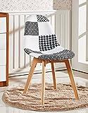 P&N Homewares Fabia Esszimmerstuhl Schwarz-Weiß Patchwork Stühle Retro Moderne Stühle Moderne Retro zeitgenössische skandinavische Möbel (OHNE Armen)