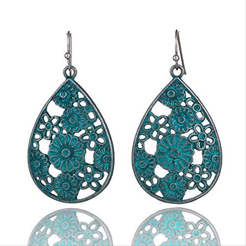 LXMS Ohrring Retro ethnischen Bronze grün Wassertropfen Ohrringe weiblichen böhmischen Hohlblumen geometrische Ohrringe für Frauen Ohrringe Schmuck