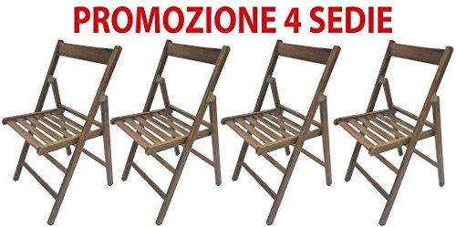 Lot de 4 chaises pliables de brasserie en bois refermables ergonomiques pour maison, jardin, camping et fête Couleur noyer